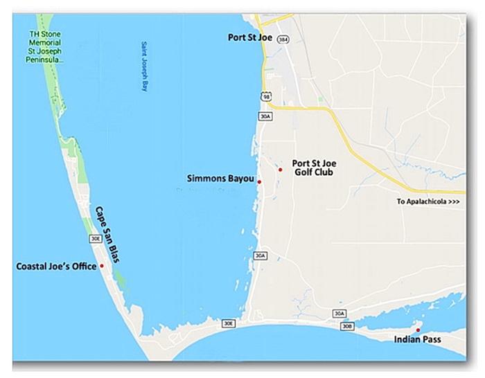 Map Showing Location of Coastal Joe Office