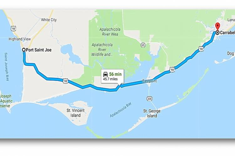 Map from Port St Joe to Carabelle