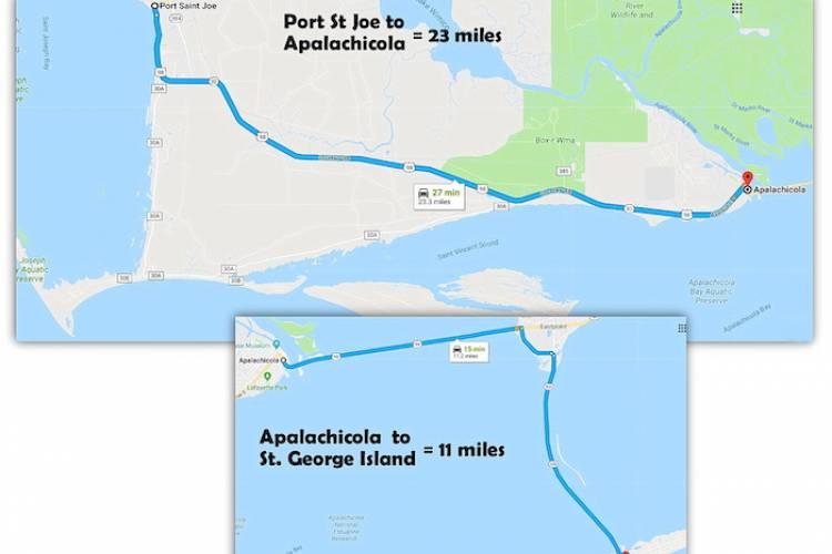 Map - Port St Joe to Apalachicola